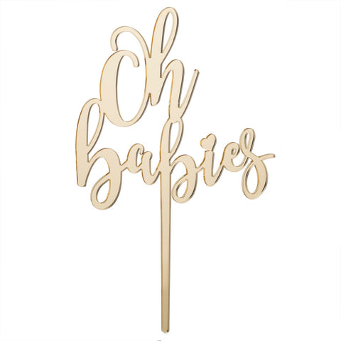 Oh Babies Acrylic Cake Topper, Mirror Gold