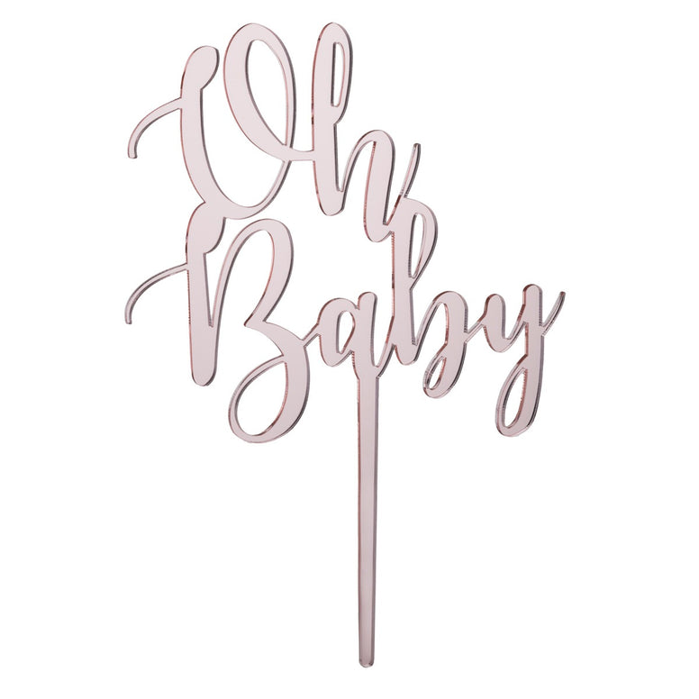 Oh Baby Acrylic Cake Topper - Mirror Rose Gold