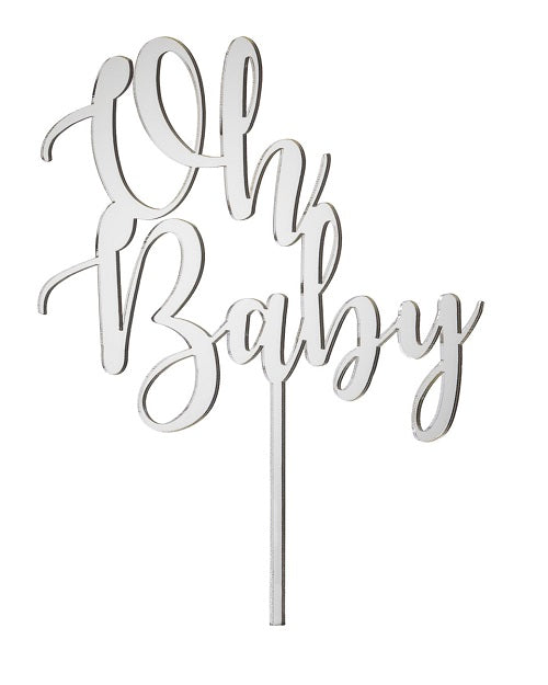Oh Baby Acrylic Cake Topper Mirror Silver