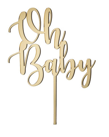 Oh Baby Cake Topper Mirror Gold