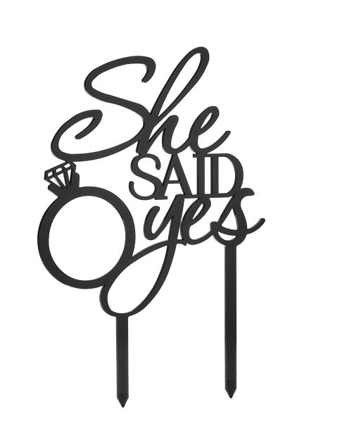 She Said Yes Acrylic Cake Topper