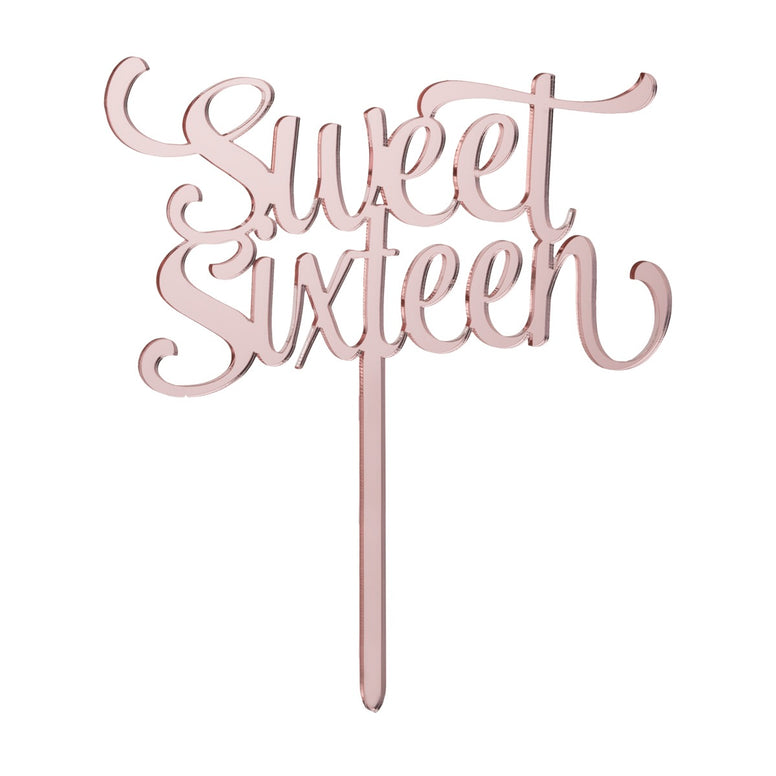 Sweet Sixteen Mirror Rose Gold Acrylic Cake topper