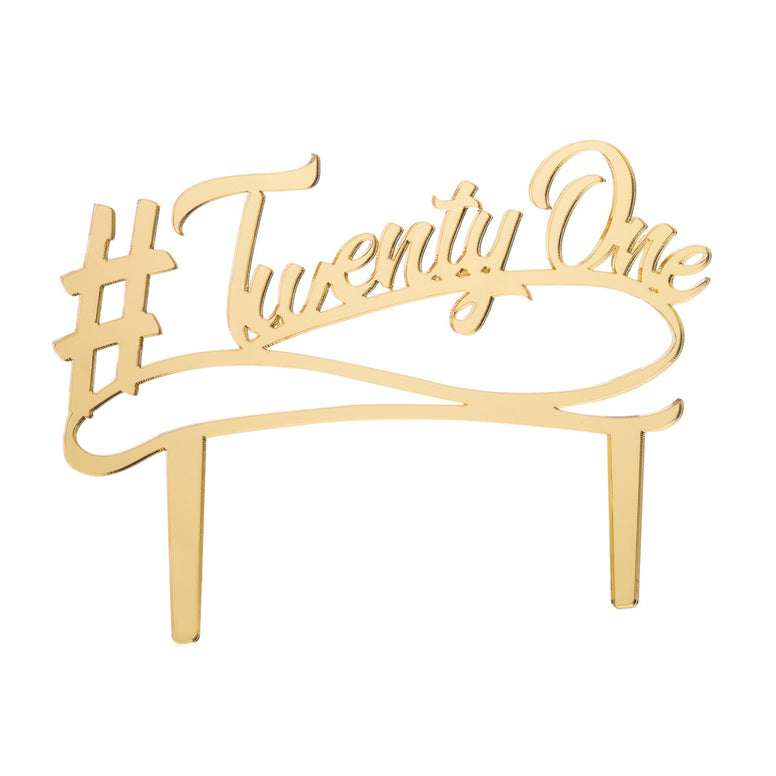 Twenty One Acrylic Cake Topper - Mirror Gold
