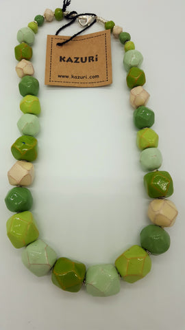 Kazuri Beads Necklace Facet 18 inches Soft Mint
