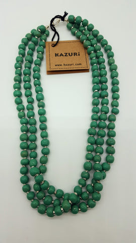 Kazuri Necklace Tiny Rounds 3 Strands 18 inch Victoria Green