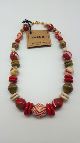 Kazuri Beads Necklace Dreamscape 18 inch Woodpecker