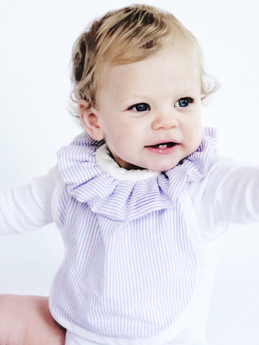 The DribbleBib™ in Lavender Seersucker