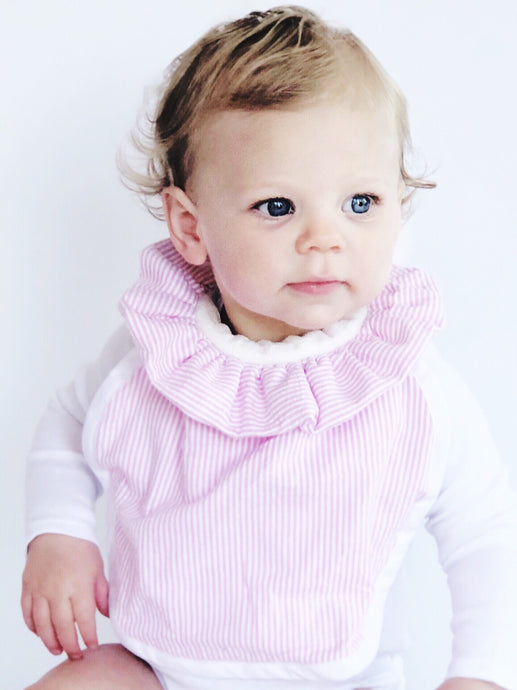 The DribbleBib™ in Pink Seersucker