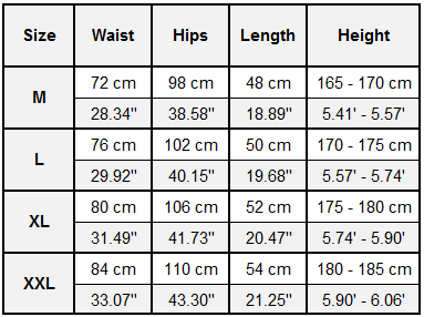 Gonunu ECHT Crossfit Shorts Size Guide