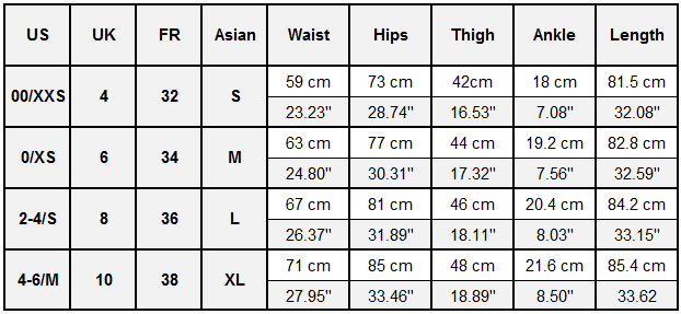 SYPREM Dark Yoga Leggings Size Guide