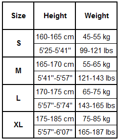 Gonunu Long Sleeve T-Shirt Size Guide