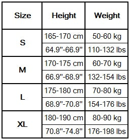 Men's leggings size guide