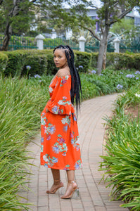 Efflorescent Orange - Button Down Skirt