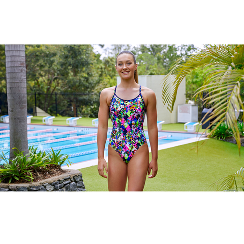 FUNKITA - Ladies Diamond Back One Piece Princess Cut - Sharks Swim Shop