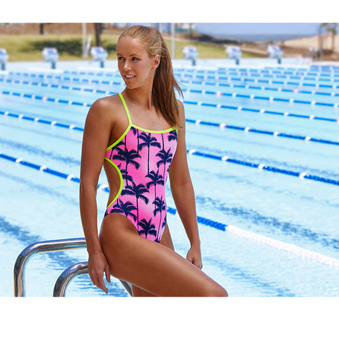 FUNKITA - Ladies Cut Away One Piece Pop Palms - Sharks Swim Shop