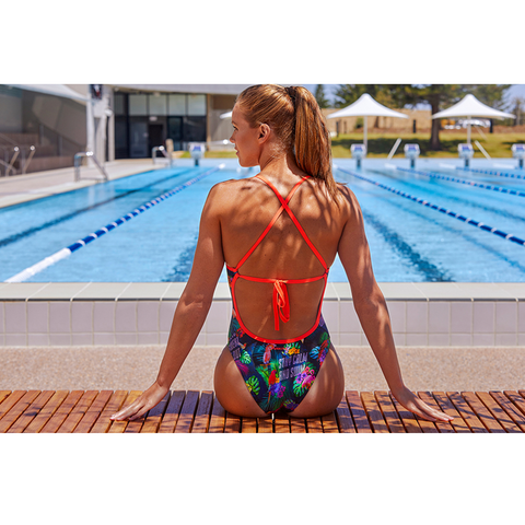 FUNKITA - Ladies 12 Tie Me Tight One Piece  Tropic Tag - Sharks Swim Shop