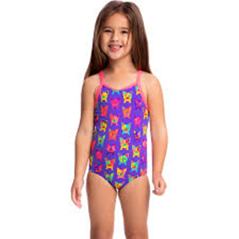 FUNKITA - Toddler Girls Printed One Piece Pooch Party - Sharks Swim Shop