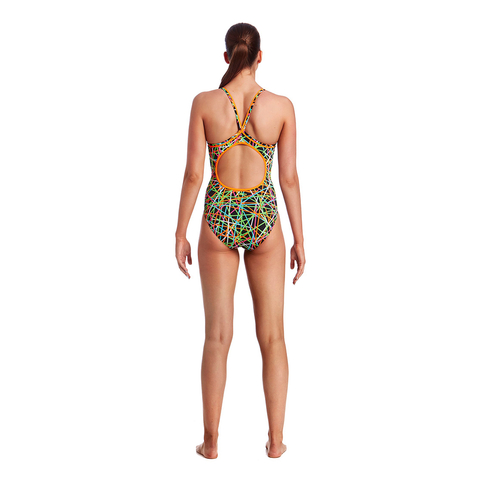 FUNKITA - Ladies Diamond Back One Piece Strapped In - Sharks Swim Shop