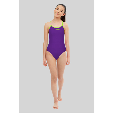 Maru - Girls Solid Pacer Tie Back Purple/Lime