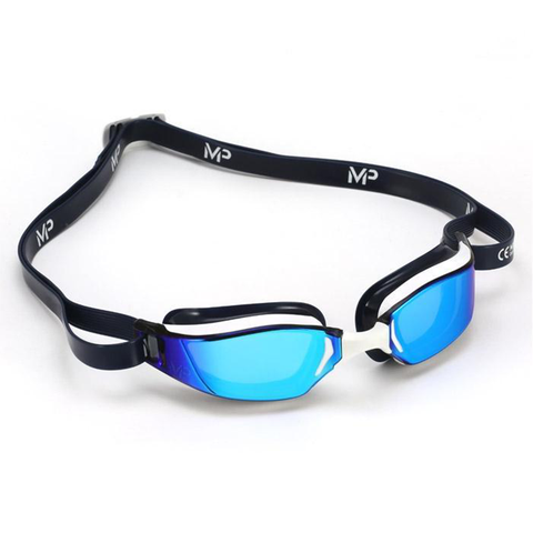 Michael Phelps - Goggles XCEED Titanium Mirror - Navy/White - Sharks Swim Shop