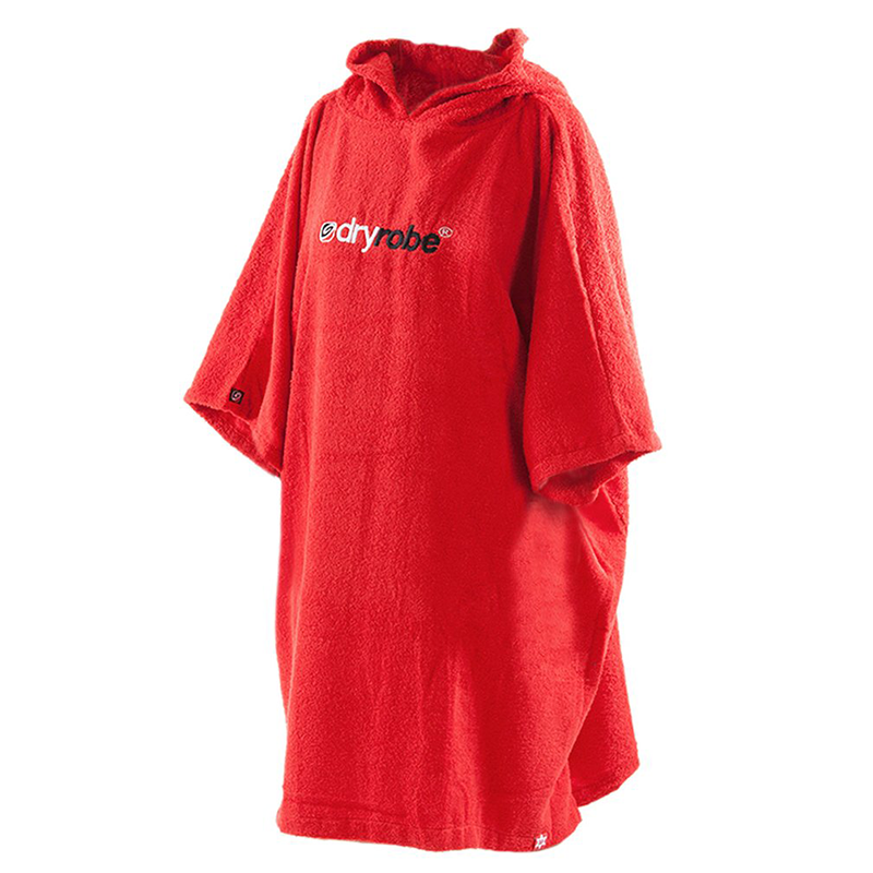 DRYROBE - Towel Poncho Hooded be Changing Robe Red