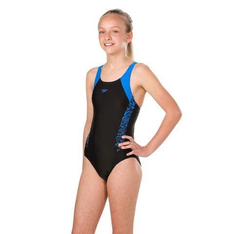 Speedo - Girls Boom Allover Muscleback JF Blue & Black
