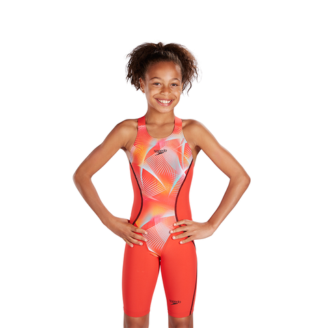 Speedo - Female Junior Lazer Racer X Open back Kneeskin Red - Sharks Swim Shop