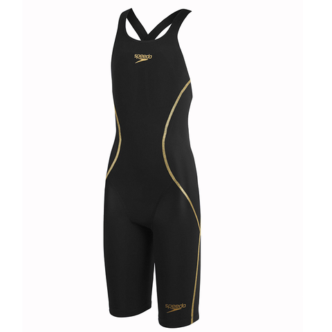 Speedo - Female Junior Lazor Racer X Open back Kneeskin Black - Sharks Swim Shop