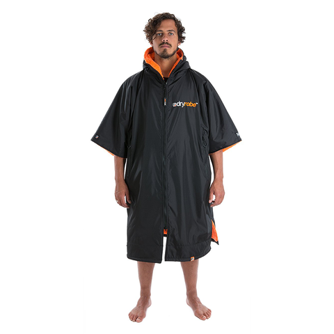 DRYROBE ADVANCE - Short Sleeve Black & Orange - Sharks Swim Shop