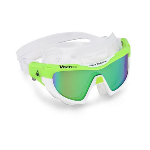 Aqua Sphere - Vista Pro Green/White Mirrored - Sharks Swim Shop