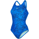 Speedo - Womens Swimsuit Blue Boom Allover Muscleback