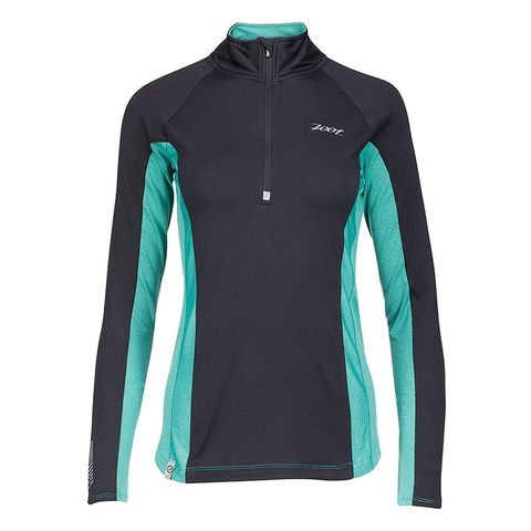 Zoot - Womens Ocean Side 1/2 Zip Black/Aquamarine Stripe
