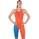 Speedo - Womens Lazer Racer Elite 2 Open Back Kneeskin orange/Blue
