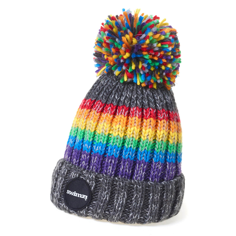 SWIMZI - Hat Super Bobble Sherpa Fleece Graphite Rainbow