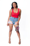 high waisted blue distressed denim shorts with pink, yellow, orange, and red painted flames