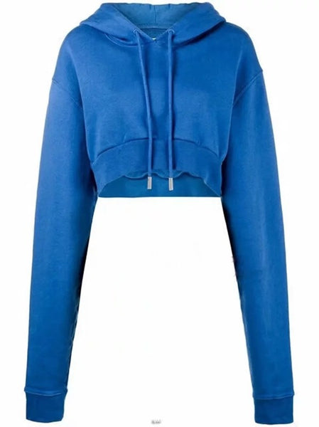 digital blue cropped loose fitting hoodie