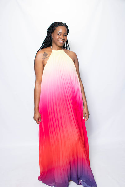 Your next Summer getaway will thank you for adding this beautiful flowing multi colored ombre maxi dress to the mix!