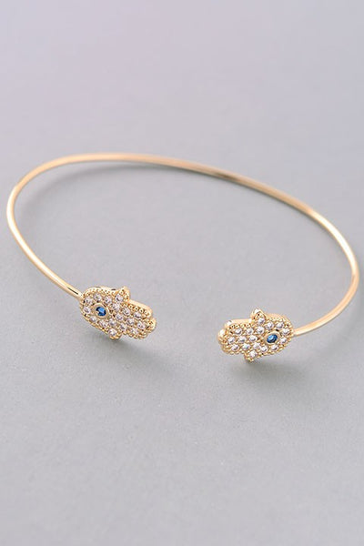 Gold Rhinestone Hamsa Bangle