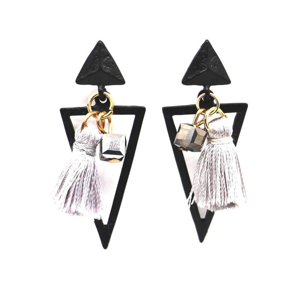 Gray Mini Geometric Triangle Earrings