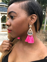 Beautiful pink drop tassel earrings perfect for any occasion