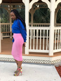 bubblegum pink stretch midi pencil skirt and cobalt blue cropped hoodie