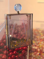 Glitter perfume bottle clutch with detachable gold link chain