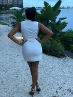 sexy off white sleeveless mini lapel dress