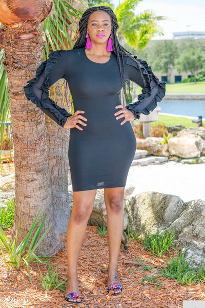 Black crew neck bodycon knee length dress with stretch. The sleeves are adorned with large ruffles and sheer detail in between.