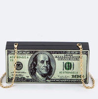$100 bill money clutch purse with snap closure and gold removable shoulder strap