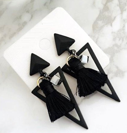 Black Mini Geometric Triangle Earrings