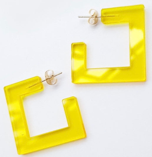 yellow mini square stud earrings