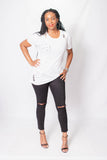 distressed white crew neck t-shirt with holes long, loose fitted knit tee with cuffed short sleeves