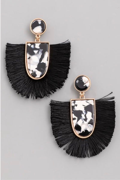 black and white marble tassel earrings with gold trim