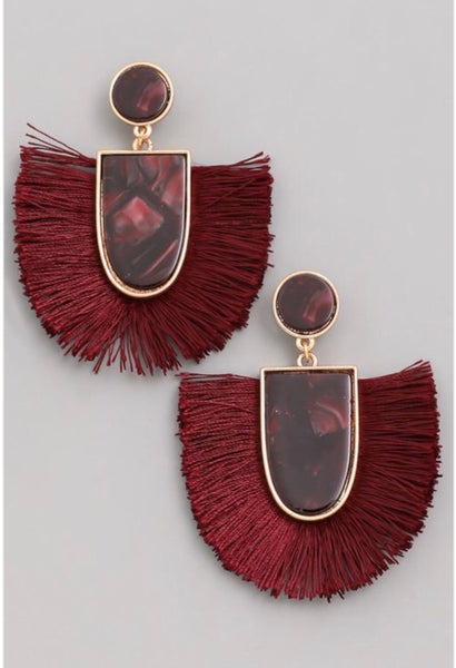 Burgundy tassel earrings with gold accents